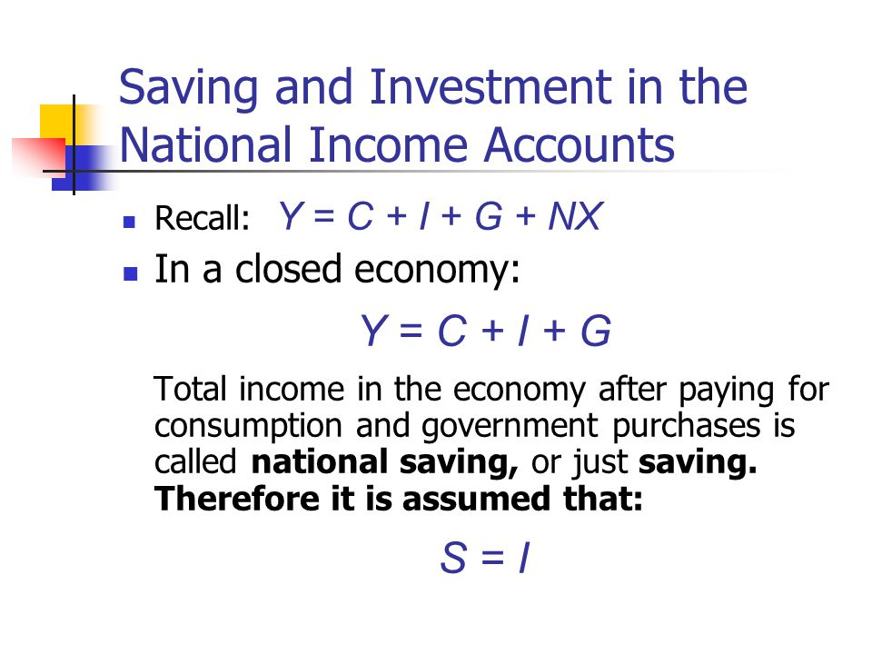 Saving and Investment in the National Income Accounts Recall: Y = C + I + G + NX In a closed economy: Y = C + I + G Total income in the economy after
