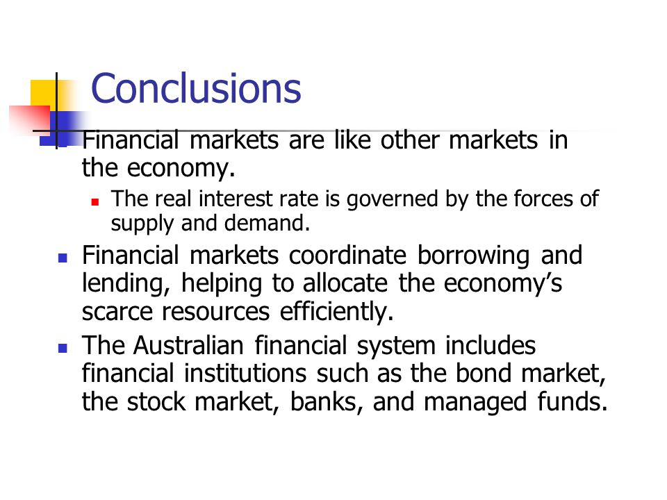 Conclusions Financial markets are like other markets in the economy. The real interest rate is governed by the forces of supply and demand. Financial