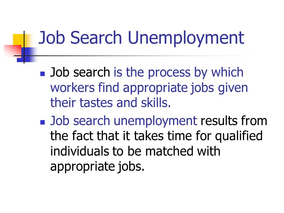 Job Search Unemployment Job search is the process by which workers find appropriate jobs given their tastes and skills. Job search unemployment result