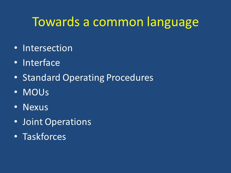 Towards a common language Intersection Interface Standard Operating Procedures MOUs Nexus Joint Operations Taskforces