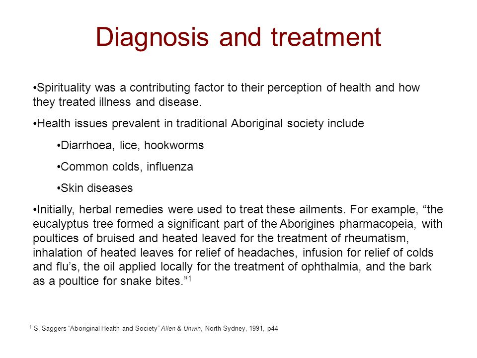 Diagnosis and treatment Spirituality was a contributing factor to their perception of health and how they treated illness and disease.