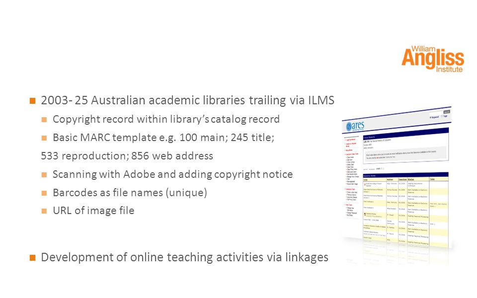 2003- 25 Australian academic libraries trailing via ILMS Copyright record within library's catalog record Basic MARC template e.g.