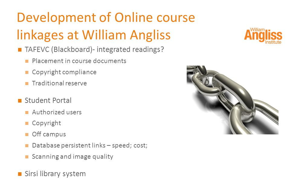 Development of Online course linkages at William Angliss TAFEVC (Blackboard)- integrated readings.