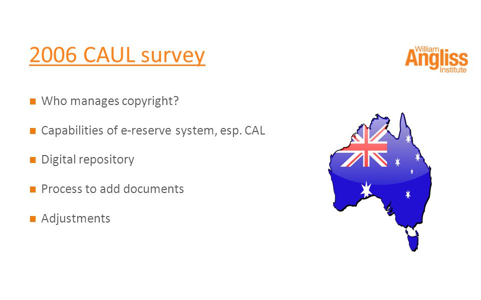 2006 CAUL survey Who manages copyright. Capabilities of e-reserve system, esp.