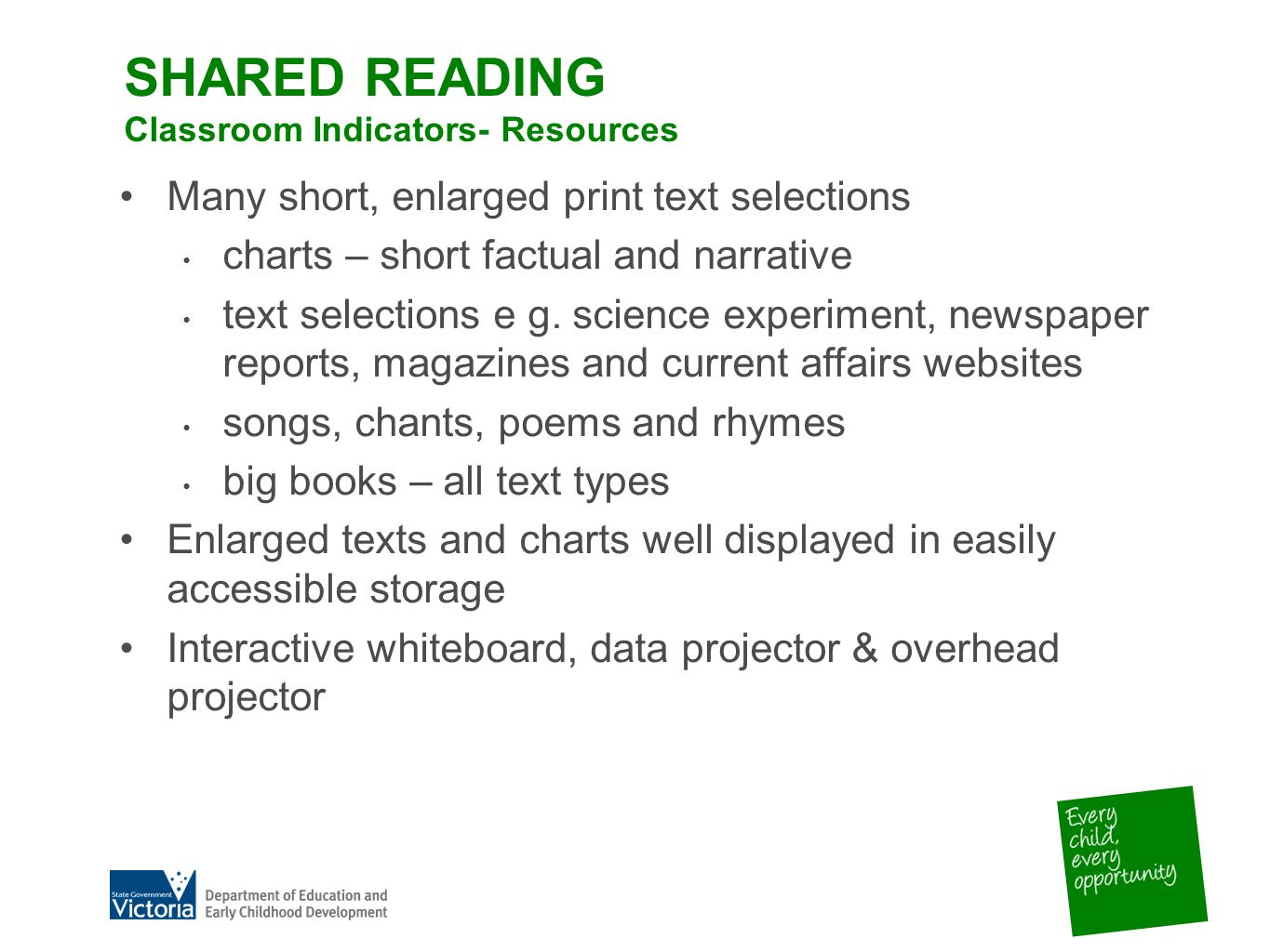 SHARED READING Classroom Indicators- Resources Many short, enlarged print text selections charts – short factual and narrative text selections e g.