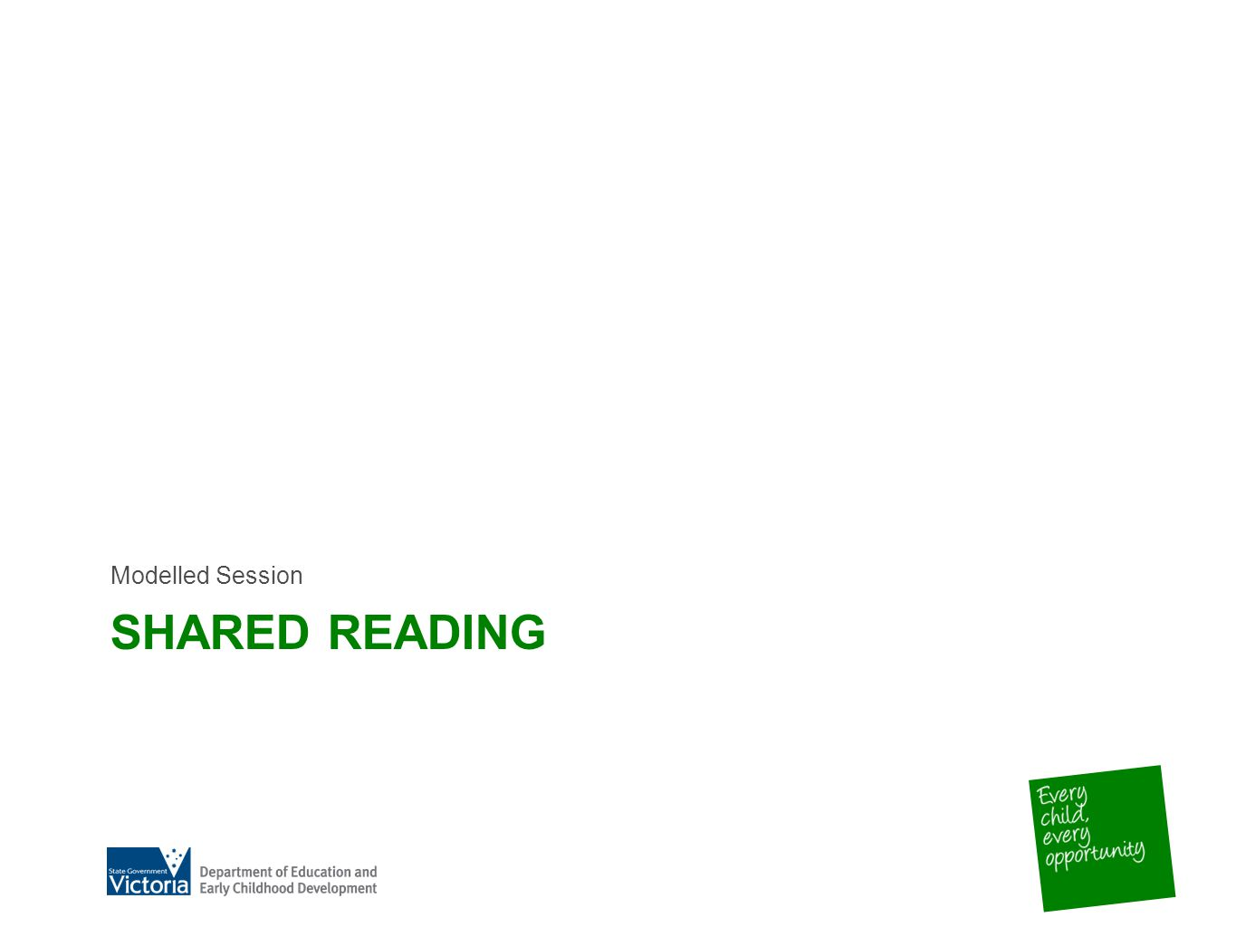 SHARED READING Modelled Session
