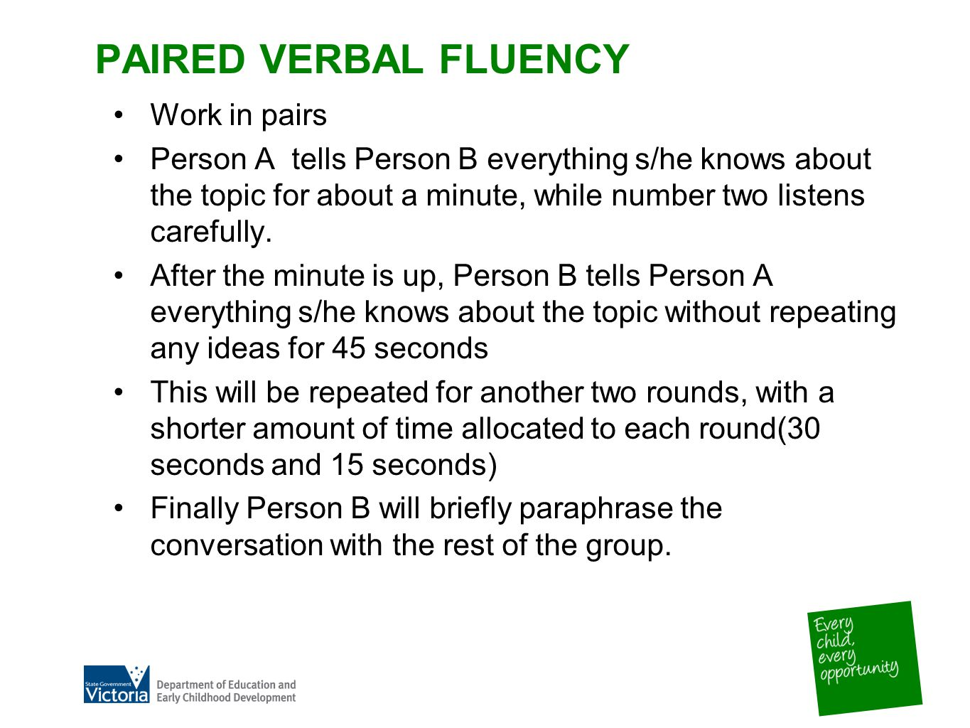 PAIRED VERBAL FLUENCY Work in pairs Person A tells Person B everything s/he knows about the topic for about a minute, while number two listens carefully.