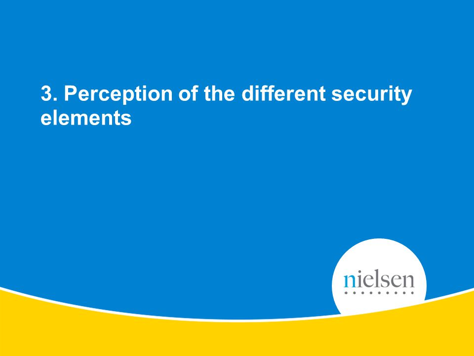 12 Copyright © 2010 The Nielsen Company. Confidential and proprietary. Perception of the Protection & Security elements of products 3. Perception of t