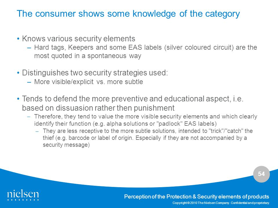 54 Copyright © 2010 The Nielsen Company. Confidential and proprietary. Perception of the Protection & Security elements of products The consumer shows