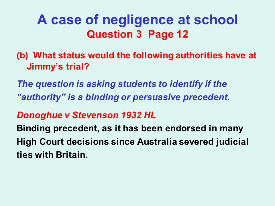 A case of negligence at school Question 3 Page 12 (b) What status would the following authorities have at Jimmy's trial? The question is asking studen