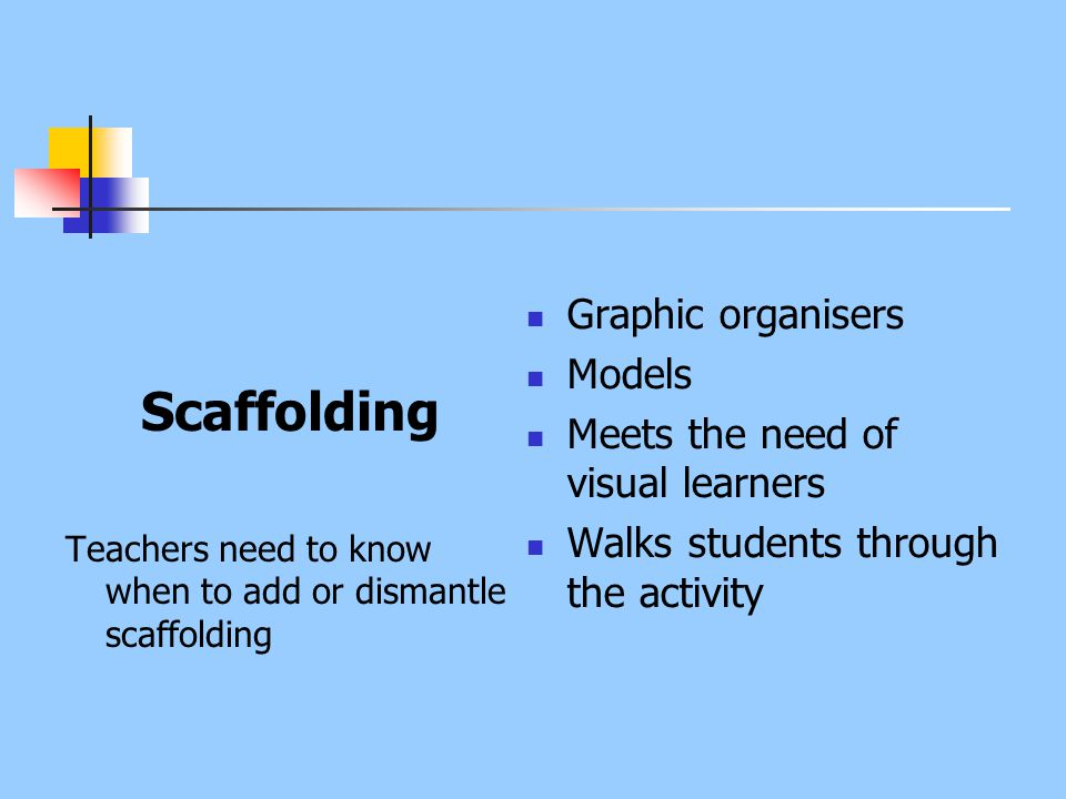 Scaffolding Teachers need to know when to add or dismantle scaffolding Graphic organisers Models Meets the need of visual learners Walks students thro