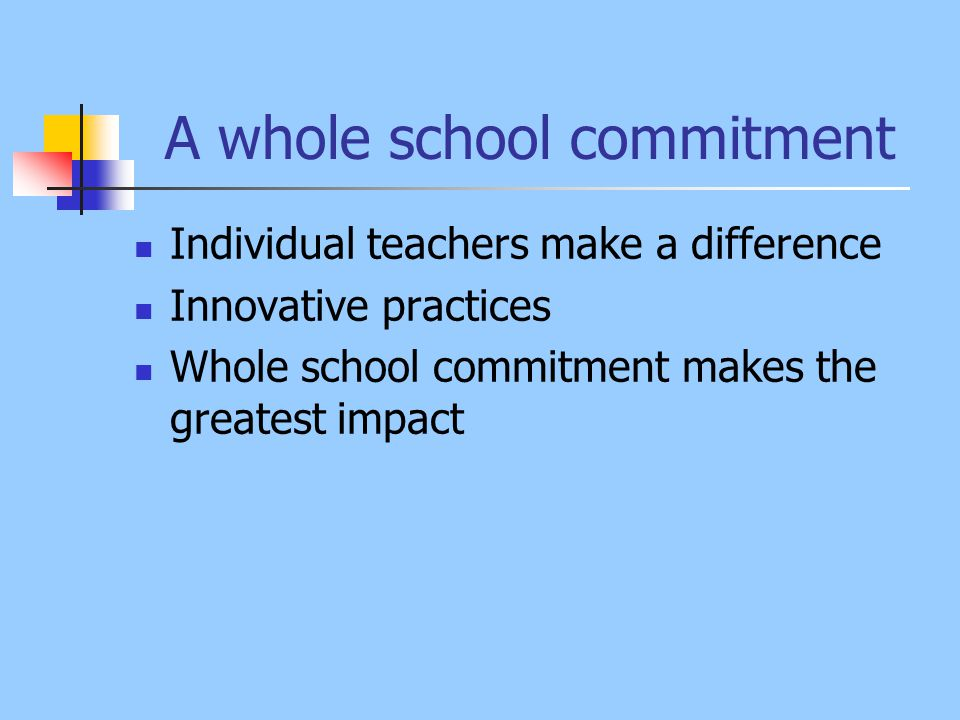 A whole school commitment Individual teachers make a difference Innovative practices Whole school commitment makes the greatest impact