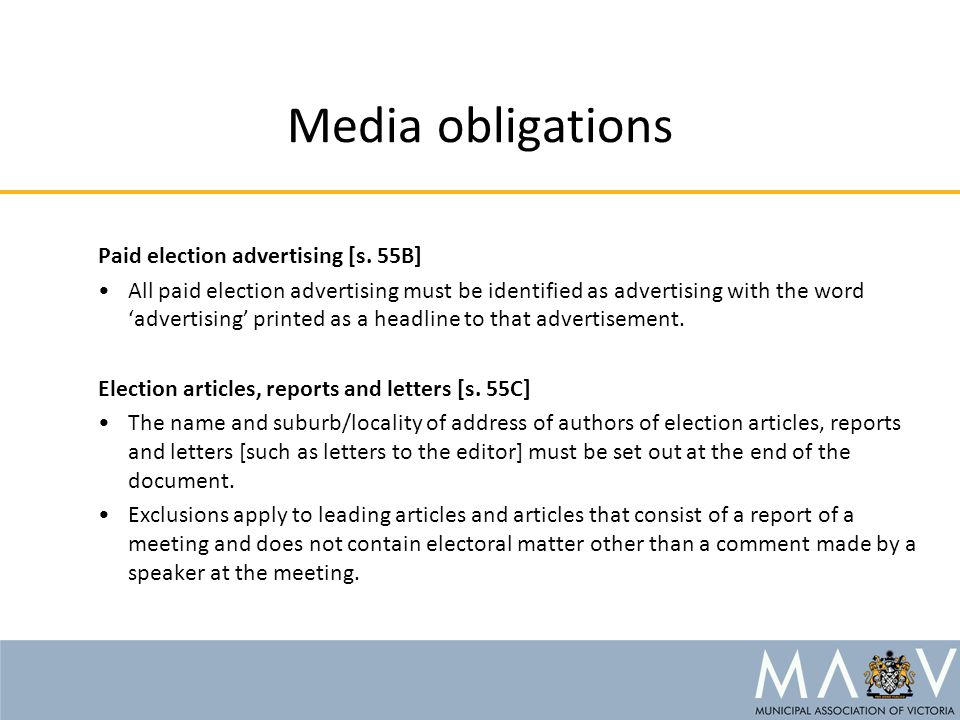 Media obligations Paid election advertising [s.