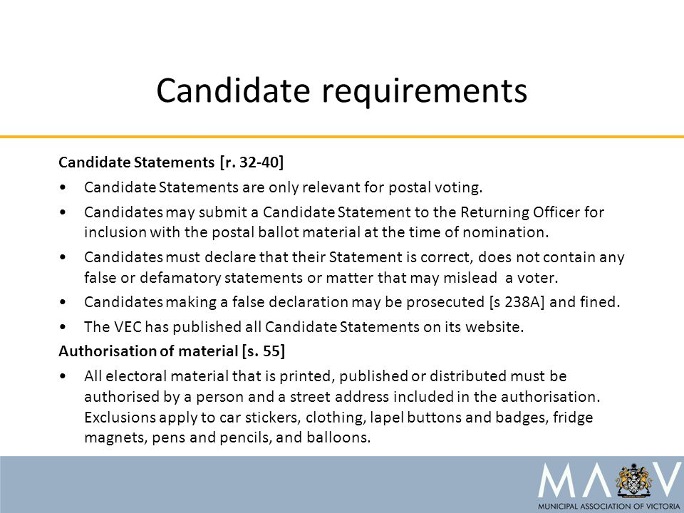 Candidate requirements Candidate Statements [r.