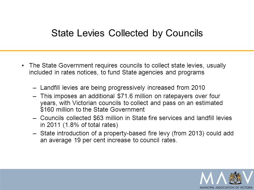 State Levies Collected by Councils The State Government requires councils to collect state levies, usually included in rates notices, to fund State agencies and programs –Landfill levies are being progressively increased from 2010 –This imposes an additional $71.6 million on ratepayers over four years, with Victorian councils to collect and pass on an estimated $160 million to the State Government –Councils collected $63 million in State fire services and landfill levies in 2011 (1.8% of total rates) –State introduction of a property-based fire levy (from 2013) could add an average 19 per cent increase to council rates.