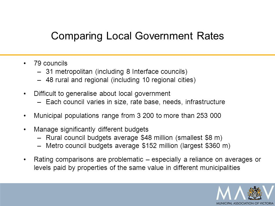 Comparing Local Government Rates 79 councils –31 metropolitan (including 8 Interface councils) –48 rural and regional (including 10 regional cities) D