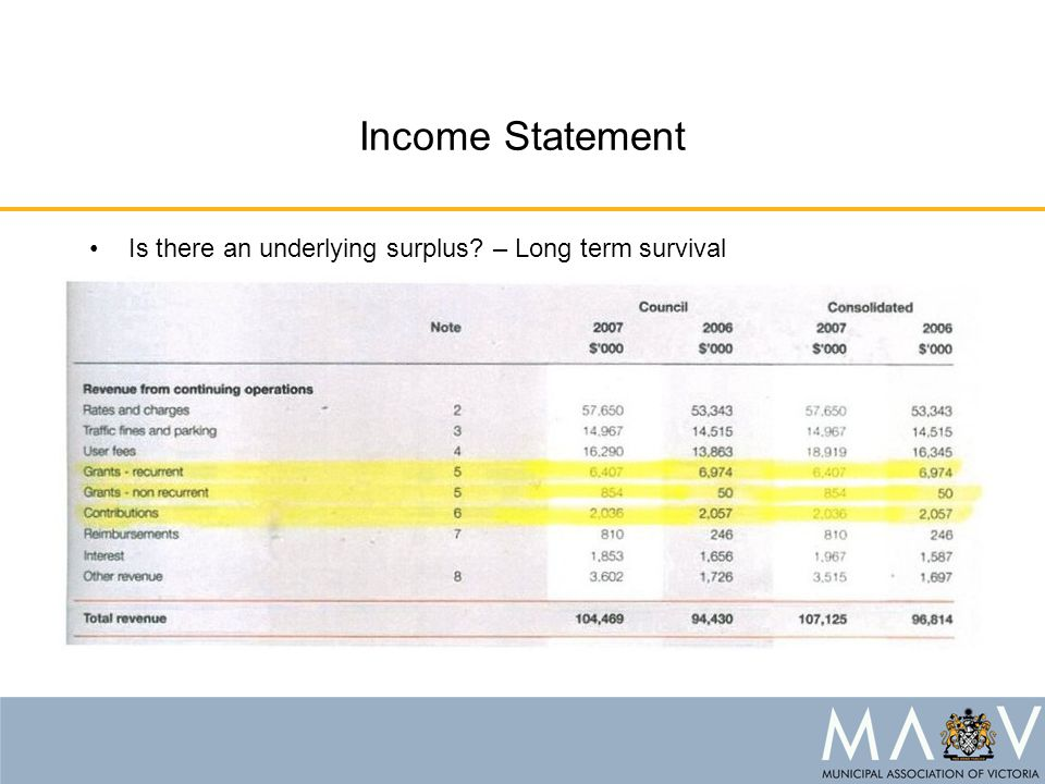 Income Statement Is there an underlying surplus – Long term survival
