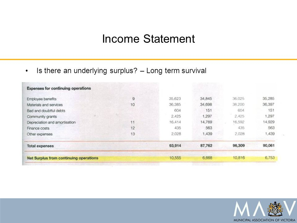 Income Statement Is there an underlying surplus? – Long term survival