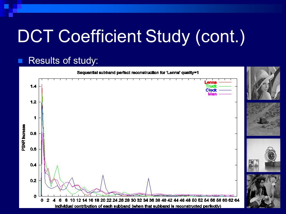 DCT Coefficient Study (cont.) Results of study: