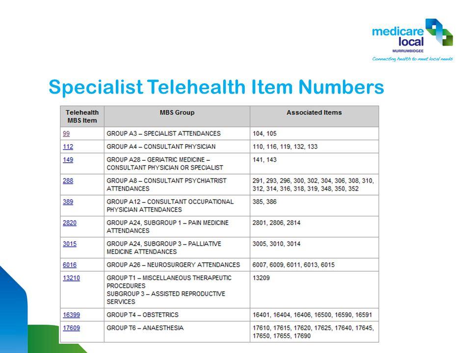 Specialist Telehealth Item Numbers