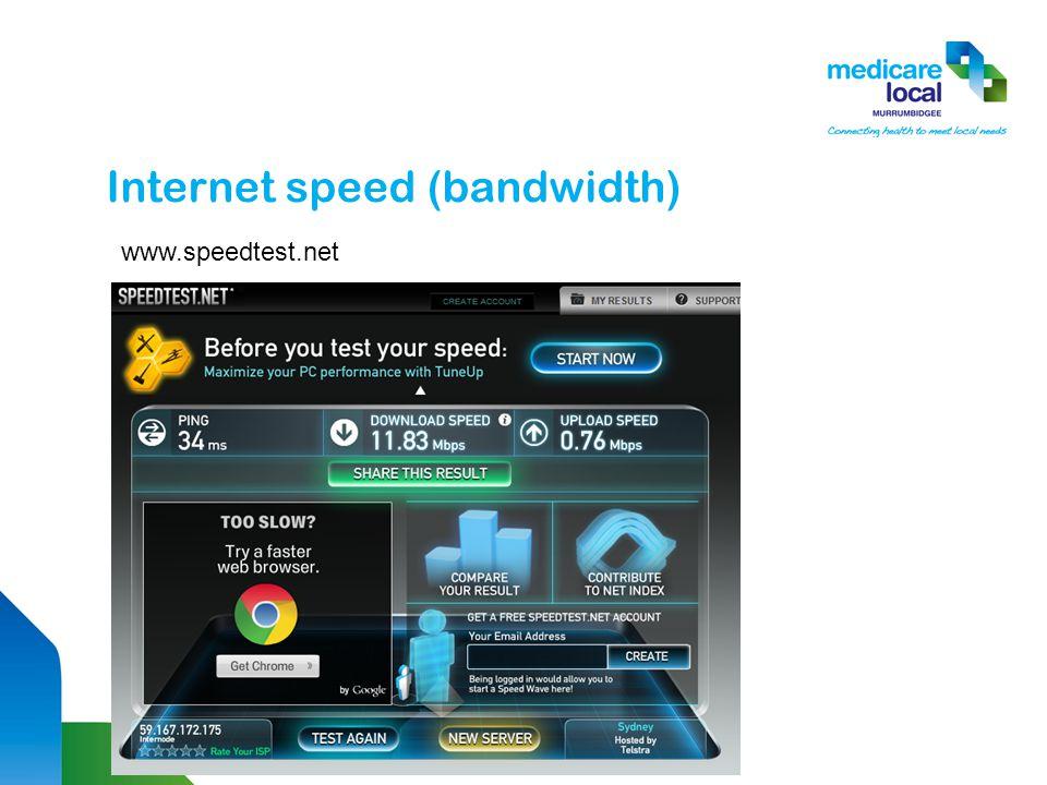 Internet speed (bandwidth) www.speedtest.net