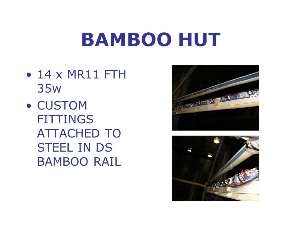BAMBOO HUT 14 x MR11 FTH 35w CUSTOM FITTINGS ATTACHED TO STEEL IN DS BAMBOO RAIL