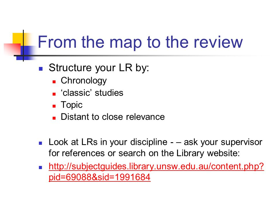 From the map to the review Structure your LR by: Chronology 'classic' studies Topic Distant to close relevance Look at LRs in your discipline - – ask your supervisor for references or search on the Library website: http://subjectguides.library.unsw.edu.au/content.php.