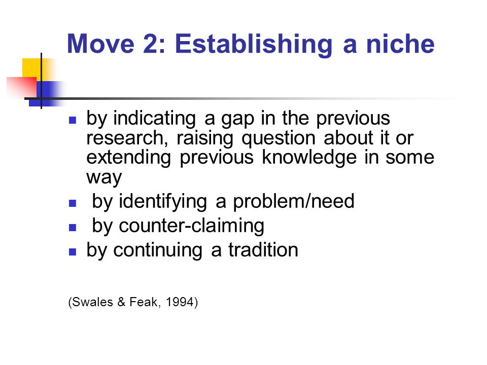 Move 2: Establishing a niche by indicating a gap in the previous research, raising question about it or extending previous knowledge in some way by identifying a problem/need by counter-claiming by continuing a tradition (Swales & Feak, 1994)