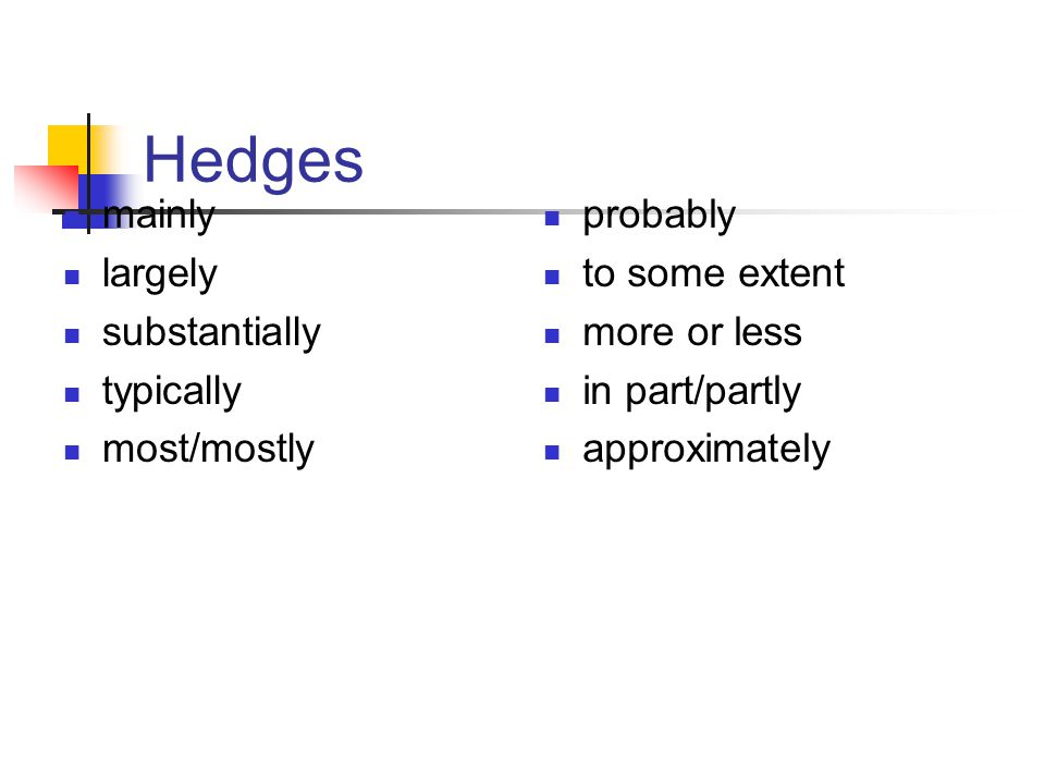 Hedges mainly largely substantially typically most/mostly probably to some extent more or less in part/partly approximately