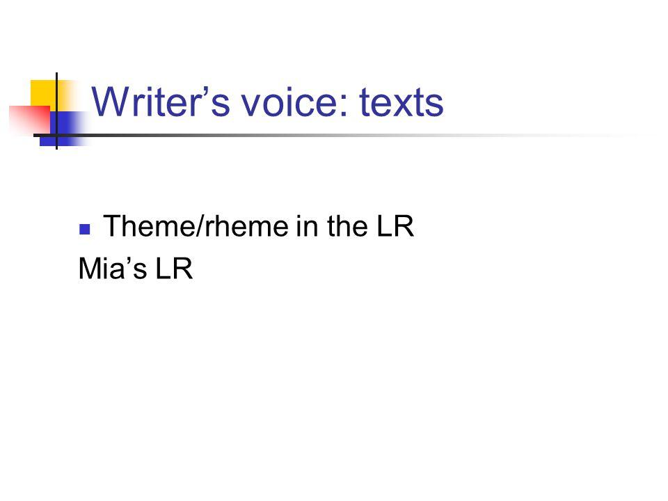Writer's voice: texts Theme/rheme in the LR Mia's LR