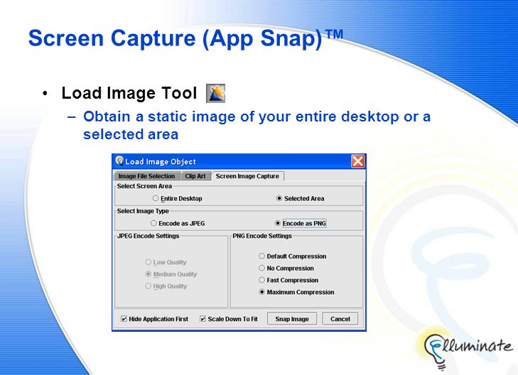 Screen Capture (App Snap)™ Load Image Tool –Obtain a static image of your entire desktop or a selected area
