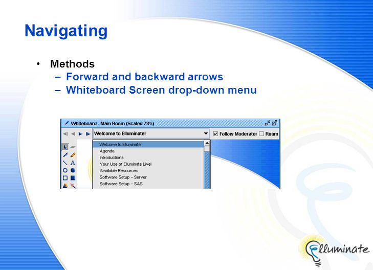 Navigating Methods –Forward and backward arrows –Whiteboard Screen drop-down menu