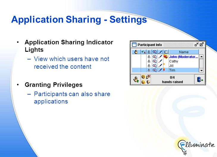 Application Sharing - Settings Application Sharing Indicator Lights –View which users have not received the content Granting Privileges –Participants can also share applications