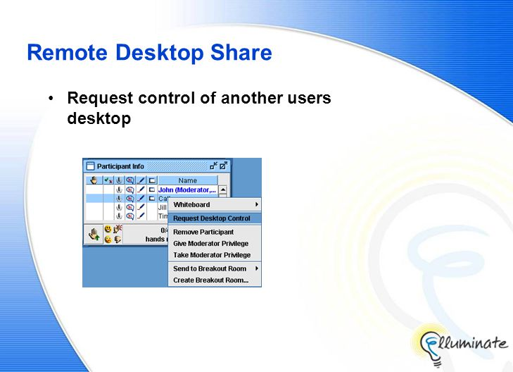 Remote Desktop Share Request control of another users desktop