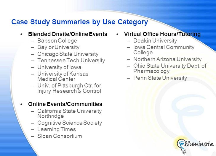 Case Study Summaries by Use Category Blended Onsite/Online Events –Babson College –Baylor University –Chicago State University –Tennessee Tech University –University of Iowa –University of Kansas Medical Center –Univ.