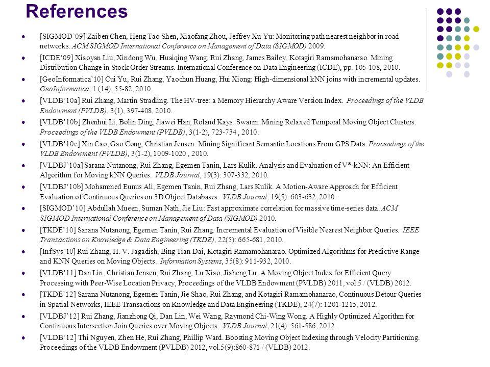 References [SIGMOD'09] Zaiben Chen, Heng Tao Shen, Xiaofang Zhou, Jeffrey Xu Yu: Monitoring path nearest neighbor in road networks.