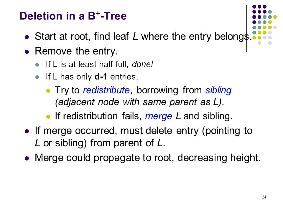 24 Deletion in a B + -Tree Start at root, find leaf L where the entry belongs.