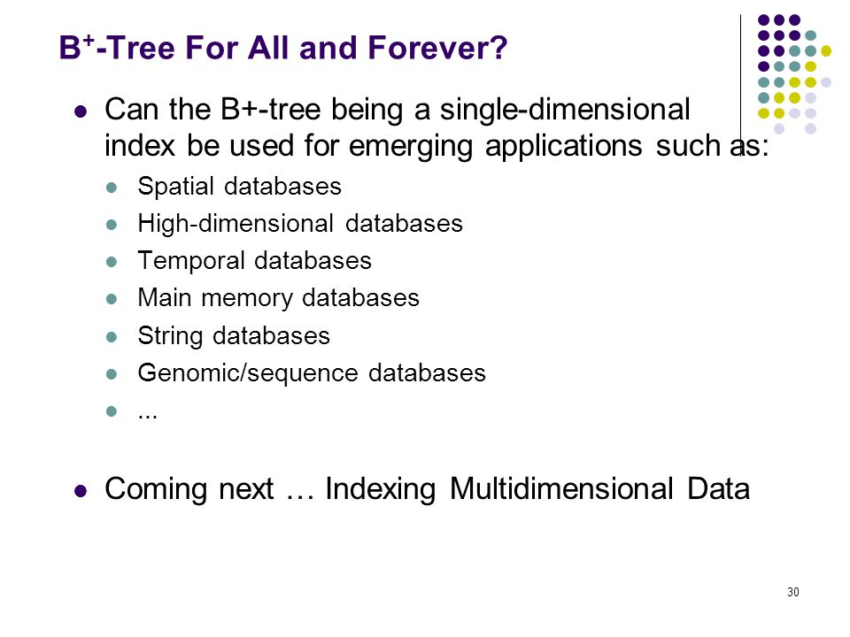 30 B + -Tree For All and Forever.