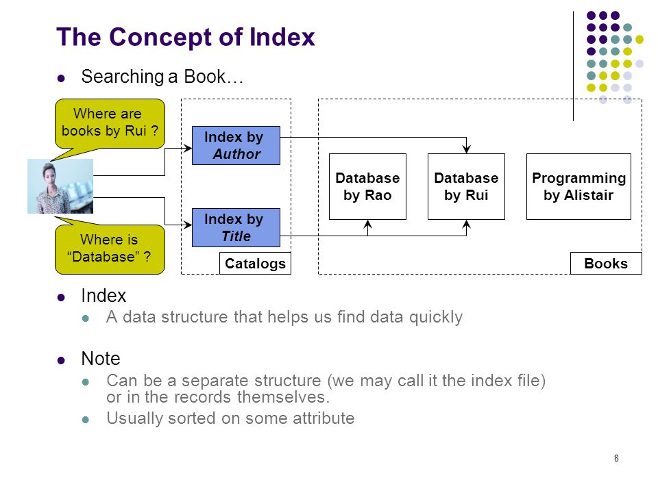 8 The Concept of Index Searching a Book… Index A data structure that helps us find data quickly Note Can be a separate structure (we may call it the index file) or in the records themselves.