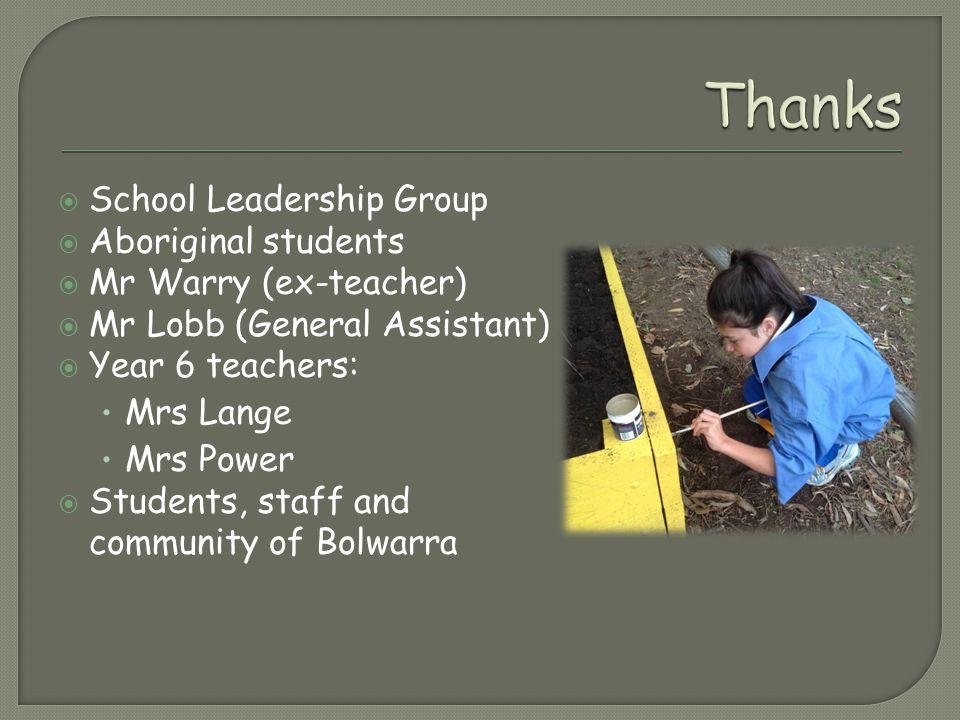  School Leadership Group  Aboriginal students  Mr Warry (ex-teacher)  Mr Lobb (General Assistant)  Year 6 teachers: Mrs Lange Mrs Power  Students, staff and community of Bolwarra