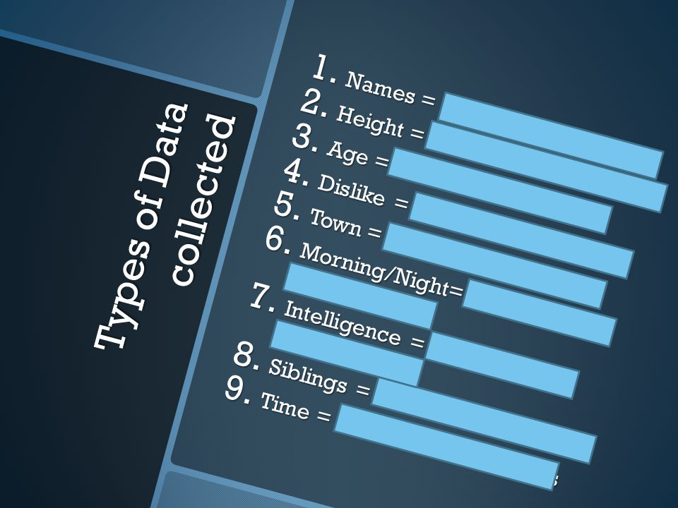 Types of Data collected 1. Names = Categorical, nominal 2.