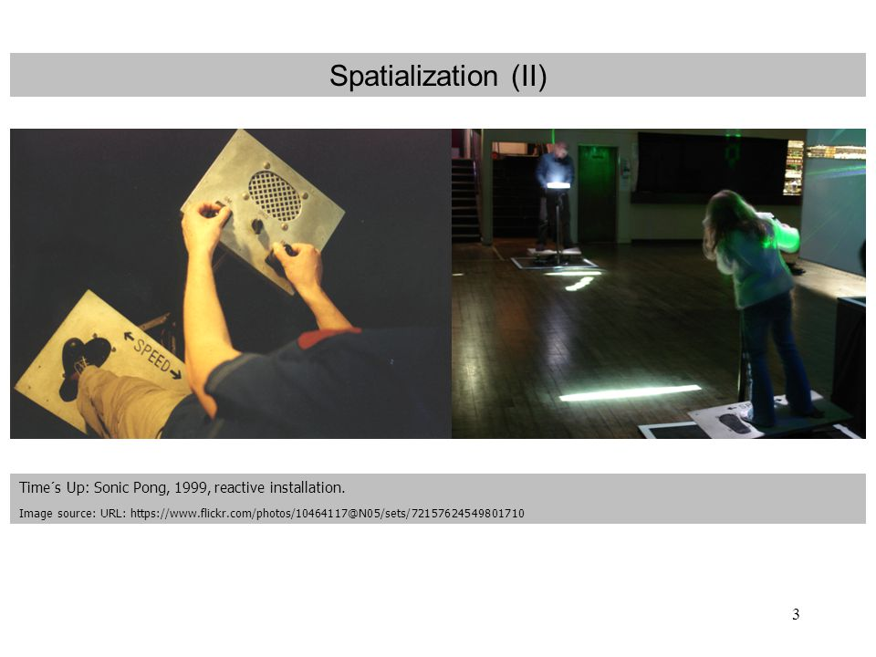 3 Spatialization (II) Time´s Up: Sonic Pong, 1999, reactive installation.