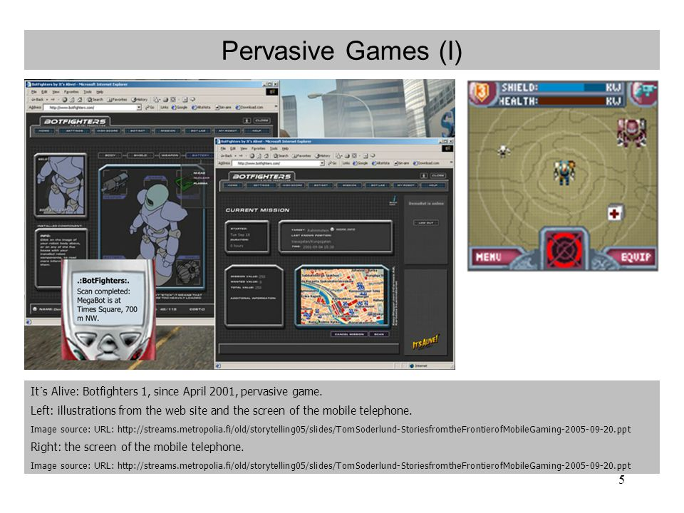 5 Pervasive Games (I) It´s Alive: Botfighters 1, since April 2001, pervasive game.