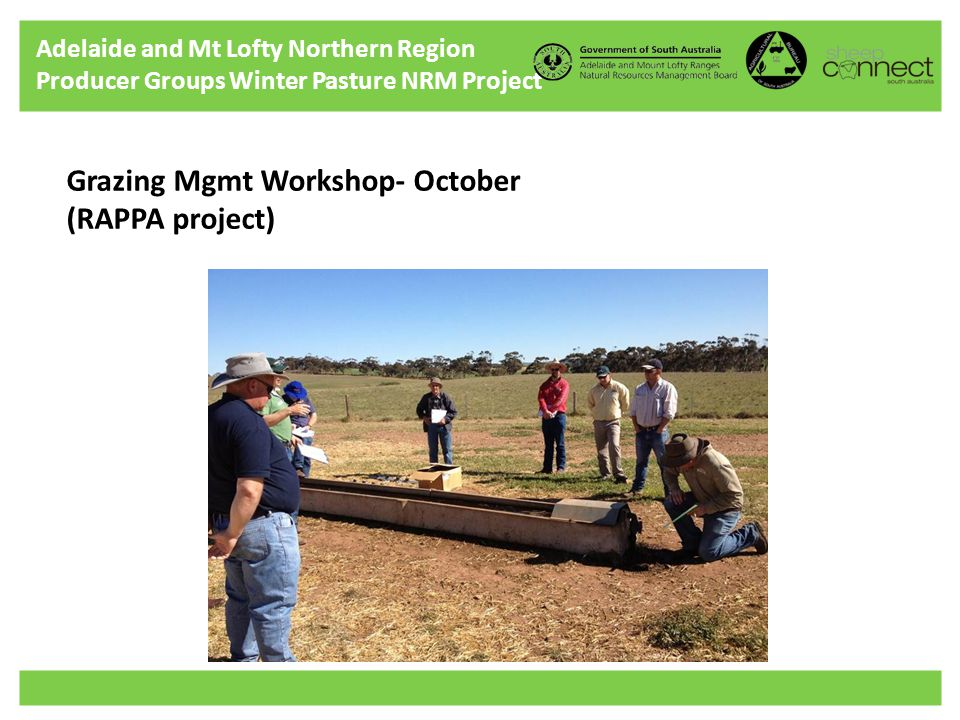 Adelaide and Mt Lofty Northern Region Producer Groups Winter Pasture NRM Project Grazing Mgmt Workshop- October (RAPPA project)