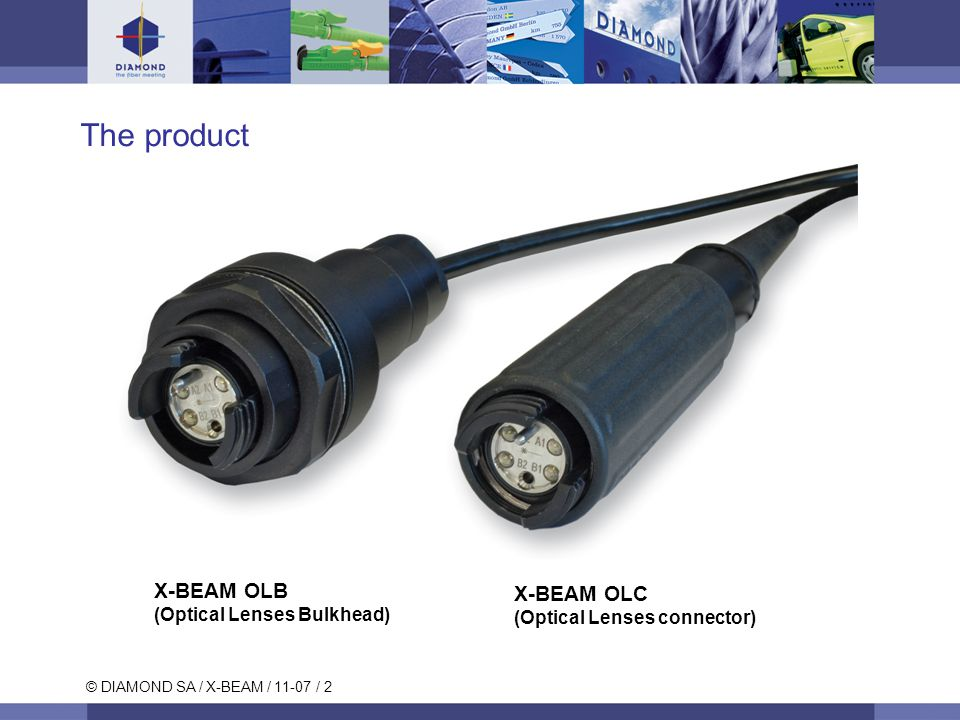 © DIAMOND SA / X-BEAM / 11-07 / 2 The product X-BEAM OLC (Optical Lenses connector) X-BEAM OLB (Optical Lenses Bulkhead)