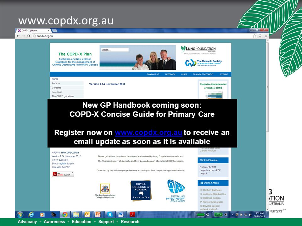www.copdx.org.au New GP Handbook coming soon: COPD-X Concise Guide for Primary Care Register now on www.copdx.org.au to receive an email update as soon as it is availablewww.copdx.org.au