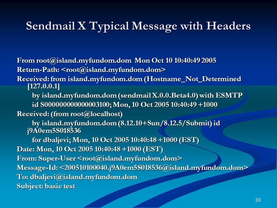 33 Sendmail X Typical Message with Headers From root@island.myfundom.dom Mon Oct 10 10:40:49 2005 Return-Path: Return-Path: Received: from island.myfundom.dom (Hostname_Not_Determined [127.0.0.1] by island.myfundom.dom (sendmail X.0.0.Beta4.0) with ESMTP by island.myfundom.dom (sendmail X.0.0.Beta4.0) with ESMTP id S000000000000003100; Mon, 10 Oct 2005 10:40:49 +1000 id S000000000000003100; Mon, 10 Oct 2005 10:40:49 +1000 Received: (from root@localhost) by island.myfundom.dom (8.12.10+Sun/8.12.5/Submit) id j9A0em5S018536 by island.myfundom.dom (8.12.10+Sun/8.12.5/Submit) id j9A0em5S018536 for dbaljevi; Mon, 10 Oct 2005 10:40:48 +1000 (EST) for dbaljevi; Mon, 10 Oct 2005 10:40:48 +1000 (EST) Date: Mon, 10 Oct 2005 10:40:48 +1000 (EST) From: Super-User From: Super-User Message-Id: Message-Id: To: dbaljevi@island.myfundom.dom Subject: basic test