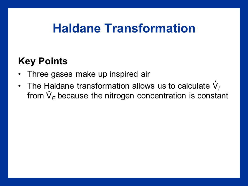 Haldane Transformation Key Points Three gases make up inspired air The Haldane transformation allows us to calculate V I from V E because the nitrogen
