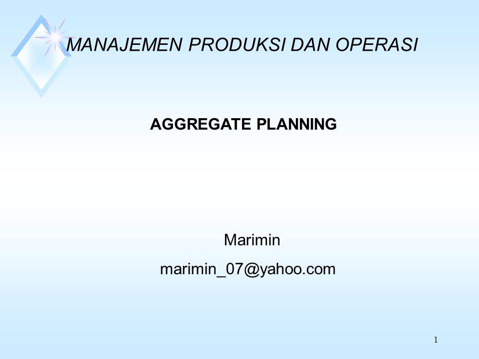 1 MANAJEMEN PRODUKSI DAN OPERASI AGGREGATE PLANNING Marimin marimin_07@yahoo.com
