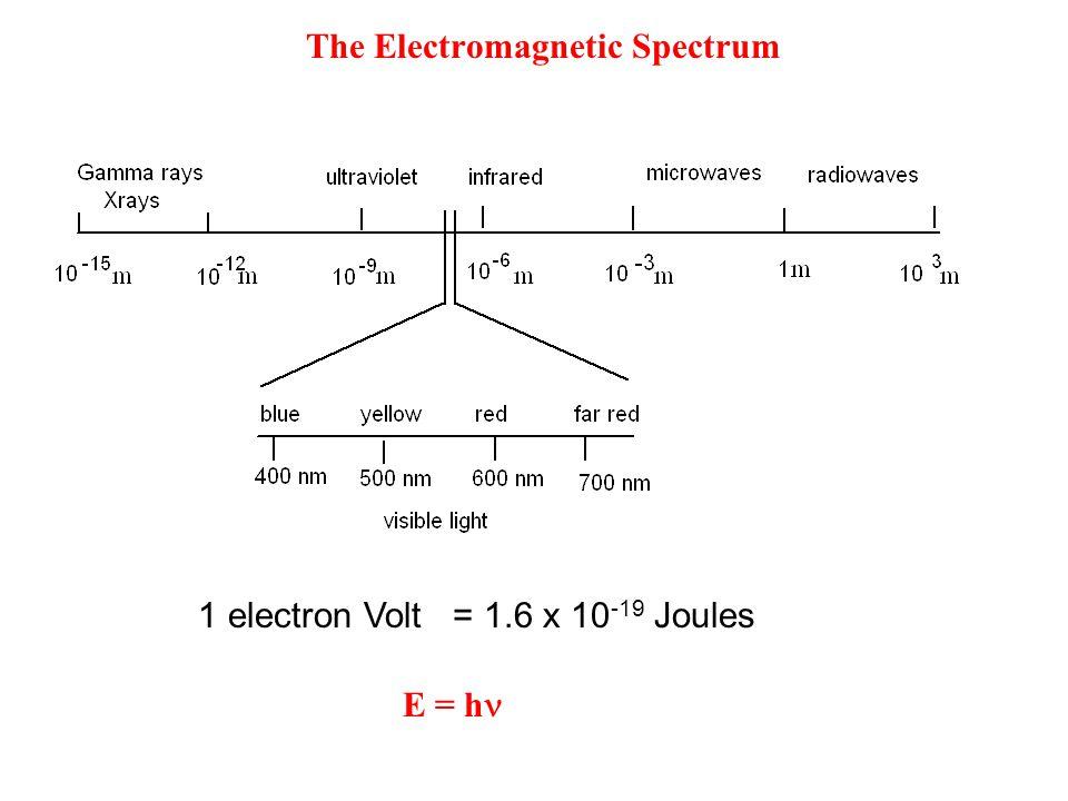 1 electron Volt = 1.6 x 10 -19 Joules E = h The Electromagnetic Spectrum